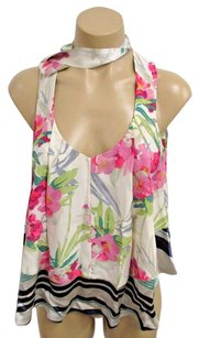 Elizabeth and James Floral Silk Sleeveless W Bow At Neck Top Cream, pinks, Gray, Black & greens