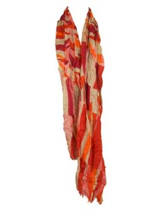Elizabeth Gillett Elizabeth,Gillett,Womens,Red,Multi,Sailor,Stripe,Fringed,Scarf,