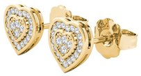 Elizabeth Jewelry 10Kt Yellow Gold Diamond Heart Shape Stud Earrings