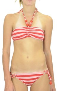 Ella Moss S Authentic Ella Moss Waldo Stripe Bandeau Bikini Swimsuit Coral Pink Beaded