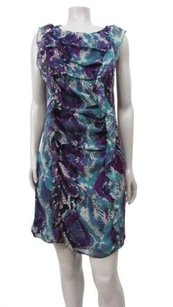 Ella Moss short dress Navy Purple Boa Silk Shift Princess Seams Snakeskin Print on Tradesy