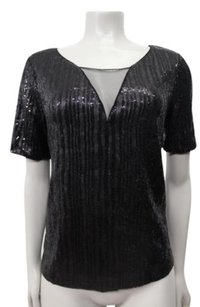 Ella Moss Roxie Boxy Sequin Tee Top Black