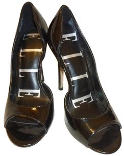 Elle Patent Leather Open Toe 7.5 B Black Pumps