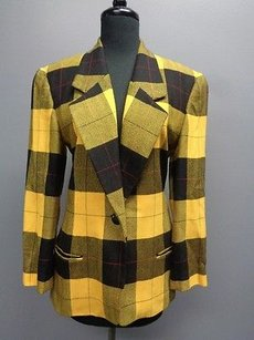 Ellen Tracy Linda Allard Long Sleeved One Button Plaid Sm10658 Black Yellow Red Jacket