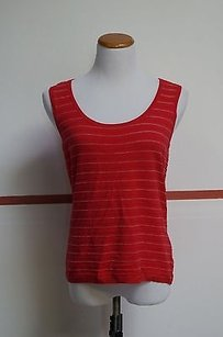 Ellen Tracy Redwhite Stripe Viscose Blend Sleeveless Scoop Neck 13250 Top Multi-Color