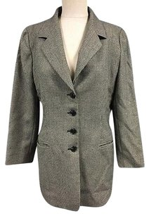 Ellen Tracy Linda Allard Ellen Tracy Black White Wool Houndstooth Button Blazer 2555a