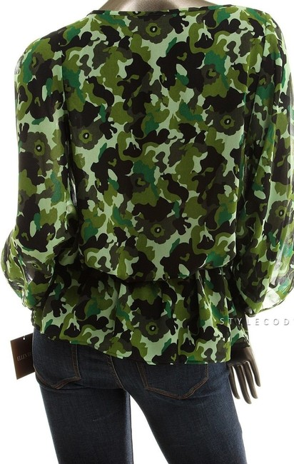 Ellen Tracy Camouflage Peplum V-neck Ruffle Military Top Green