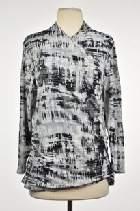 Ellen Tracy Womens Black Gray Top Black, Gray, Ivory, Metallic Silver, Beige