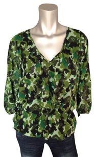 Ellen Tracy Camouflage Peplum V-neck Top Green