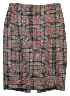 Ellen Tracy Twill Wool Checkered Zippered Suit Skirt Black White Red plaid
