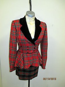 Emanuel Ungaro Emanuel Ungaro Runway Skirt Suit In Red Tartan Plaid W Velvet Lapels - 02