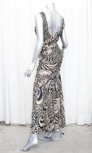 Multi-Color Maxi Dress by Emanuel Ungaro Womens Blackbeige Silk Sleeveless Gown 342
