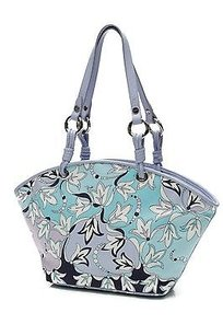 Emilio Pucci Multicolor Print Tote in Periwinkle/Navy Blue/Teal