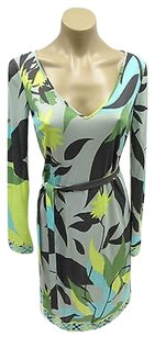 Emilio Pucci Abstract In Brown Yellow W Matching Self Belt Dress