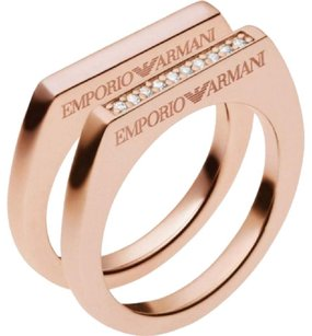 Emporio Armani EMPORIO ARMANI 925 ST SILVER ROSE GOLD PLATE CRYSTAL DOUBLE RING