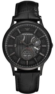 Emporio Armani Emporio Armani AR4661 Meccanico Black Leather Men's Watch