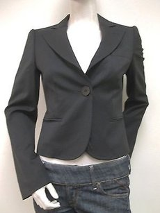 Emporio Armani Emporio Armani Black Cropped Top Stitched Collar Blazer Jacket Us 6