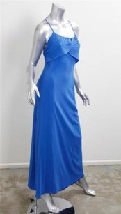 Blue Maxi Dress by Emporio Armani Womens Ruffled Silk Blend Maxi Column