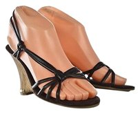 Enzo Angiolini Womens Strappy Wedges Leather Heels Brown Sandals