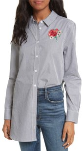 Equipment Embroidered Rose Striped Cotton Shirt Button Down Shirt blue white