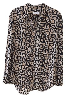 Equipment Button Down Shirt Black/Tan/Cream Print