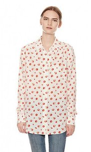 Equipment Femme Red Reese Signature Raspberry Print Silk Button Up Xsp Top Multi-Color