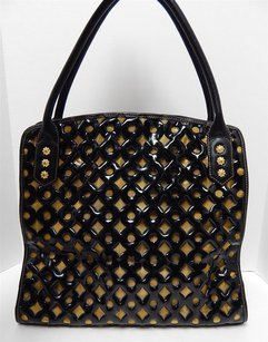 Eric Javits Leather Patent Gold Mesh Tote in Black