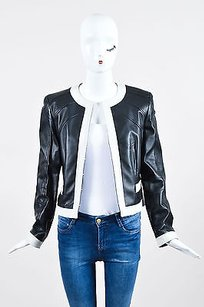 Escada Cream Leather Black Jacket