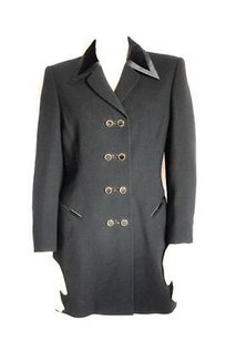 Escada Wool Double Breasted Evening Cocktail Coat Hs856 Black Jacket