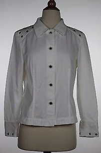 Escada Womens Silver Gromets Long Sleeve 100 Cotton White Jacket