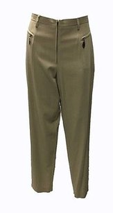 Escada Elements Taupe Tan Zip Closure Crease Detail Trouser Dress Hs2391 Pants