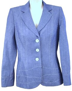 Escada Escada Womens Blazer Blue Button Lined Classic White Stitch Jacket
