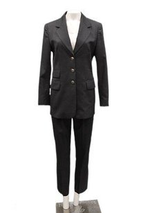 Escada Escada Charcoal Black 2pc Virgin Wool Jacket Pant Suit Set 90203hp