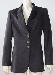 Escada Escada Charcoal Gray Cashmere Blend Button Front Blazer Jacket Hs2222