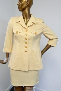 Escada Escada Margaretha Ley Gold Sparkle Jacket Skirt Suit