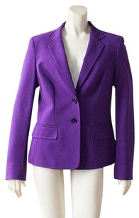 Escada Escada Purple Button Front Ruched Back Long Sleeve Blazer Jacket Hs846