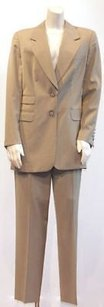 Escada Escada Tan Wool Striped 2pc Pant Suit Jacket Coat Career Xlnt