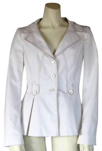 Escada Escada White Stretch Cotton Lightweight Summer Spring Blazer Jacket Hs859