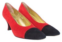 Escada Leather Suede Two-tone Red and Black Pumps