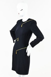 Escada Navy Wool Ls Gold Dress