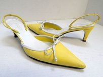 Escada 7m White Leather Slingback Heels Italy Yellow Pumps