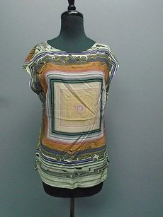 Escada Cap Sleeved Geometric Print 3626a Top Blue Yellow Orange
