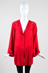 Escada Silk Gold Tone Top Red