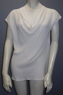 Escada Cream 100 Silk Scoop Neck Short Sleeved Draped Hs2851 Top White
