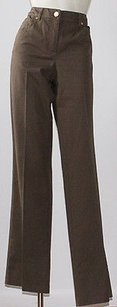 Escada Olive Brown Pocket Trouser/Wide Leg Jeans