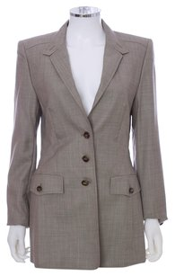 Escada Wool Tuxedo Lined Monogram Australian Light Brown Blazer