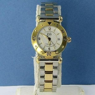ESQ Movado Vintage Esq Classic Sapphire Crystal Two Tone 25mm Silver Dial Ladies Watch Nos