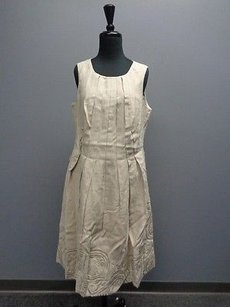 Etcetera Beige Sleeveless Pleated Back Zipper Embroidered Sma323 Dress