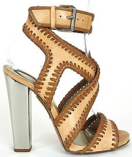 Etro Strappy Stitching Trim Leather Ankle Strap Sandals Nude / Tan Pumps