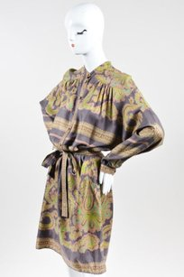 Etro short dress Multi-Color Taupe Brown Green Silk on Tradesy
